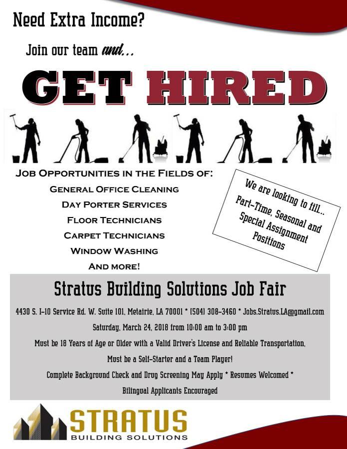 New Orleans Janitorial Job Fair 3 24 Stratus Building